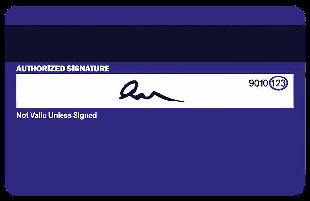 podepsaná kreditní karta