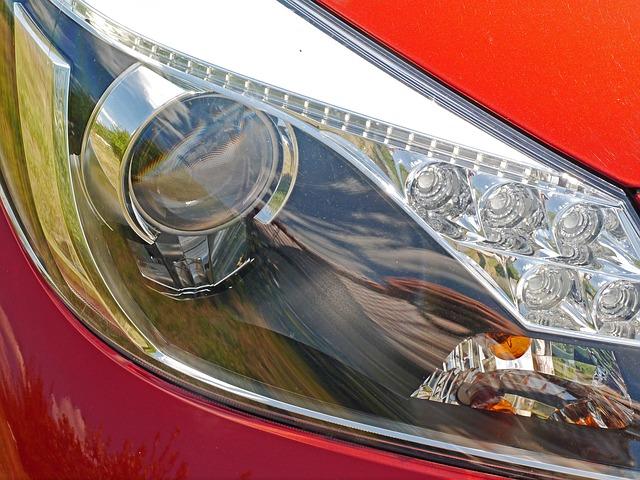detail světla auta