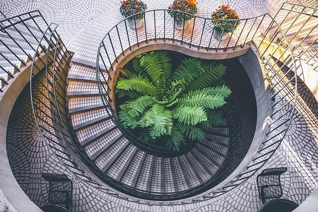 květiny na schodišti